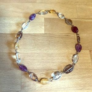Amethyst amber stone necklace